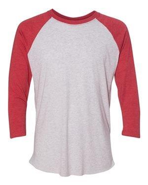 Next Level Apparel 6051 Unisex Tri-Blend 3 By 4 Sleeve Raglan - Vintage Red & Heather White, 3XL