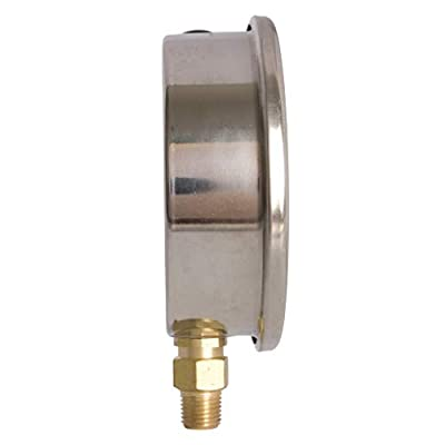 "4"" Oil Filled Vacuum Pressure Gauge - Stainless Steel Case, Brass, 1/4"" NPT, Lower Mount Connection -30HG/160PSI: Industrial & Scientific"