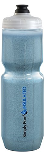 Simply Pure Hydration Purist Insulated Water Bottle with Moflo Cap Sport Bottle - Stays 20% Colder than other Insulated Bottles Tinted Moflo, 23 oz, Blue