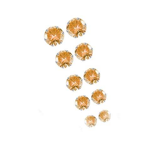 Sinwo 5 Pairs Women Fashion Elegant Rhinestone Crystal Jewelry Ear Stud Earrings (Orange) ()