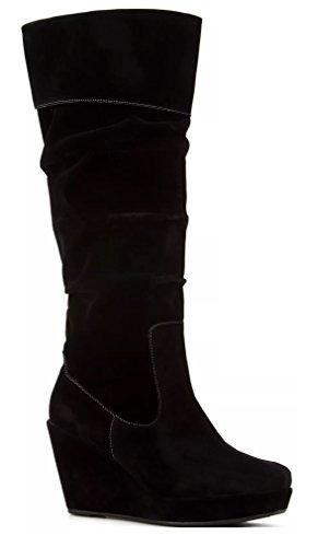 Women's Dr. Scholl's Black Velvet High Knee Tall & Wedge Comfort Boot