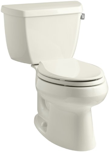 Kohler K-3575-RA-96 Wellworth Classic 1.28 gpf Elongated Toilet with Class Five Flushing Technology and Right-Hand Trip Lever, Biscuit