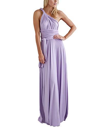 PERSUN Women's Convertible Wrap Multi Way Party Long Purple Maxi Dress -