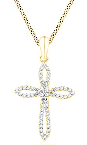 1/6 Ct Natural Diamond Cross Loop Pendant Necklace In 14K Yellow Gold Over Sterling Silver