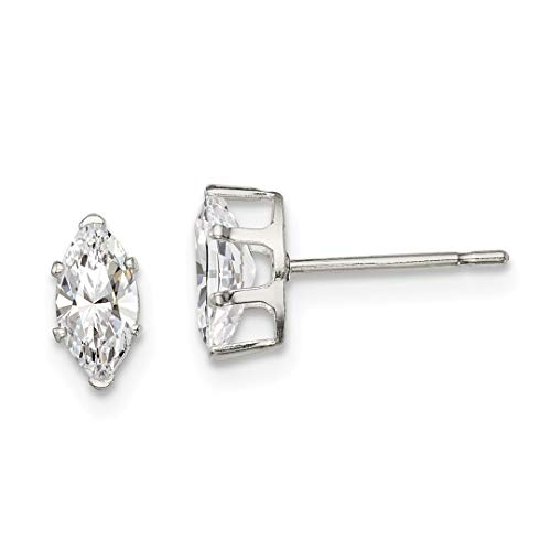 925 Sterling Silver 7x3.5 Marquise Snap Set Cubic Zirconia Cz Stud Earrings Radiant Fine Jewelry Gifts For Women For ()