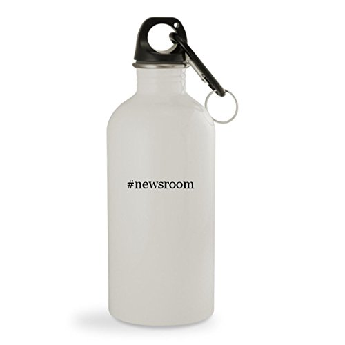 #newsroom - 20oz Hashtag White Sturdy Stainless Steel Water Bottle with Carabiner