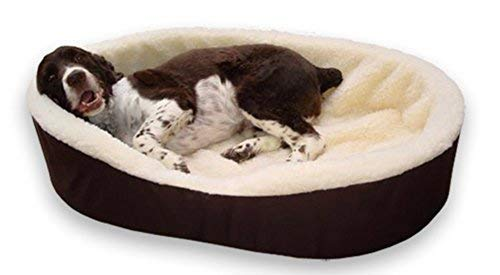 Dog Bed King Pet Bed Large. Additional Cover Included. Brown/Imitation Lambswool. Size: -