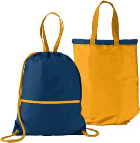 Navy/Gold Reversible Sports Lightweight Drawstring Backpack/Tote Bag ()