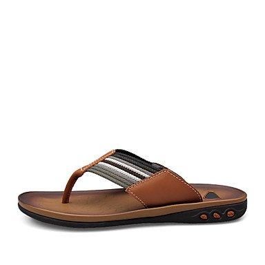 Zapatos de hombre casual Zapatillas de cuero marrón/Caqui Brown