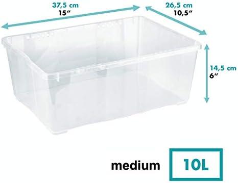 Grizzly 10 x Caja de Almacenaje con Tapa de 10 L - Cajón de Plástico Transparente Apilable - Caja Multiusos Organizador de Armarios para Ordenación de Ropa: Amazon.es: Hogar