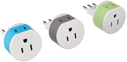 OREI Italy, Uruguay Travel Plug Adapter - 2 USA Inputs - 3 Pack - Type L (US-12A) - Does Not Convert Voltage
