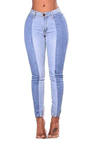 Donna Blau Vita Donne Pantaloni Stretch Matita Battercake Casual A Denim Casuale Skinny Alta TqC77w4E
