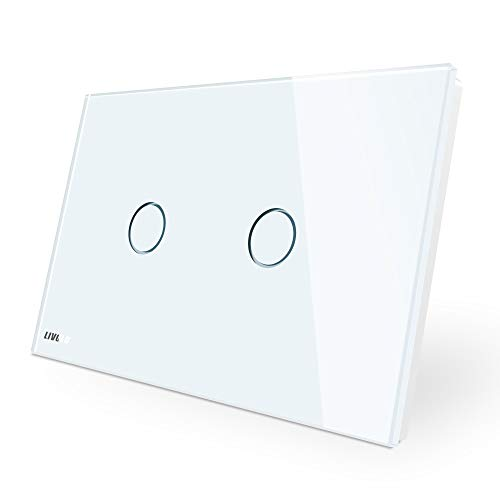 LIVOLO White US Standard AC 110-220V 2 Gang 1 Way Wall Light Dimmer Switch With Tempered Glass Panel,CE Certified, C902D-11