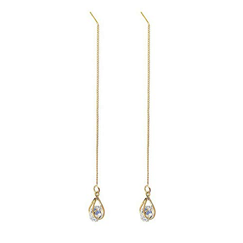 AkoMatial Fashion Earrings for Women, Women Teardrop Cubic Zirconia Threader Long Chain Line Thread Dangle Earrings - Golden