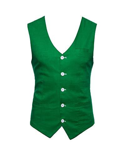 Vert Homme Herbe Mariage Fit Costume Business Blouson Sans Gilet Veste Manches Slim 4qU4fvw