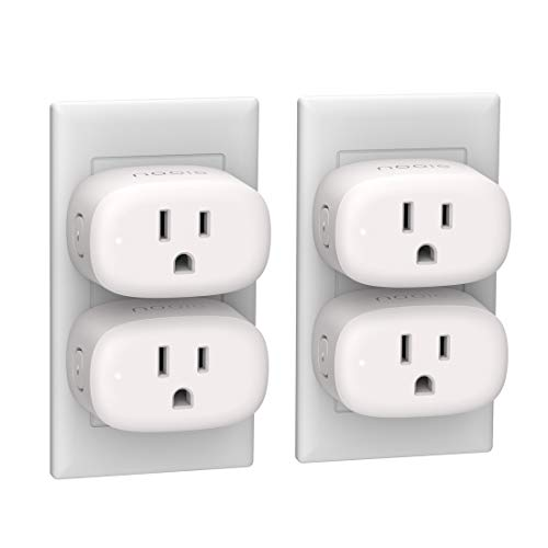 Smart Plug Compatible with Alexa, Google Assistant for Voice Control, Nooie Mini Smart Outlet Wifi Socket with Timer Function,No Hub Required, FCC and ETL Certified (4 Packs)