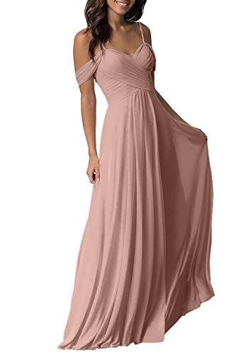Dusty Rose Wedding Bridesmaid Dress for Women 2019 Long Cold Shoulder Pleated Chiffon Formal Dress for Women