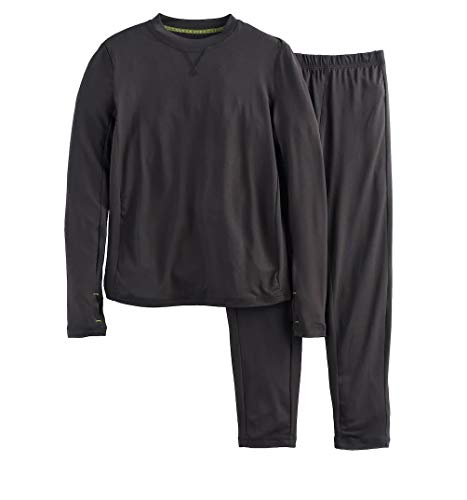 - Boys Winter Base-Layer Thermal Underwear top and Bottom Set with Thumbhole, Black S (6-7)