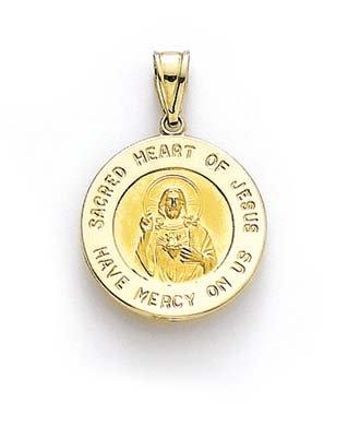 Sacré 14 carats et cœur Médaillon Rond Pendentif Jesus JewelryWeb