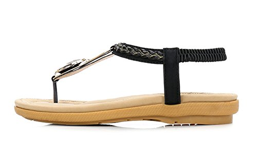 xie Femmes Chaussures Boho Sandales Clip Toe Confortable Strass Style Ethnique Fond Plat Grande Taille Plage Chaussures Femmes 35-40 black 51nyY
