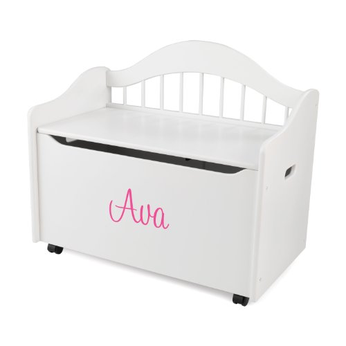KidKraft Personalized Limited Edition Toy Box-White With Pink Script Font,Ava (Black Box Toy Edition Limited)