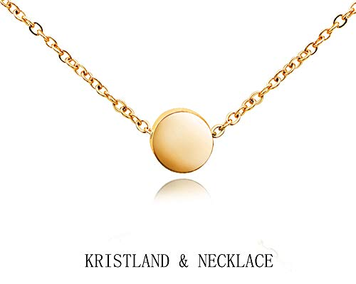 Bean Pendant - KristLand - 18k Gold Plated Stainless Steel Tiny Round Necklace Open Circle Pendant Adjustable Choker Simple Style Bean Gold Color
