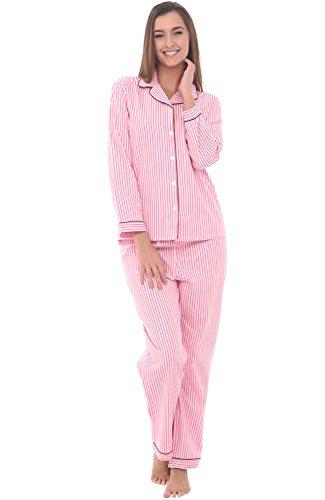 Alexander Del Rossa Womens Cotton Pajamas, Long Woven Pj Set, XL Pink Striped, Piping (Striped Woven Cotton Pajamas)