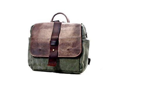 Handmade Army Green Canvas and Brown Leather Camera Insert Backpack, Unisex SLR Camera Bag by Ruth Kraus