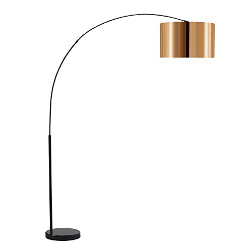 Versanora VN-L00041 Curvella Arched Floor Lamp with Marble Base, (L) 70.86 (W)16.90 x (H)78.70, Copper/Black, Large, - Base Marble Floor Lamp
