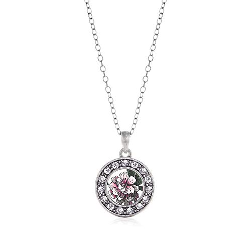 Inspired Silver - Apple Blossom Charm Necklace for Women - Silver Circle Charm 18 Inch Necklace with Cubic Zirconia Jewelry