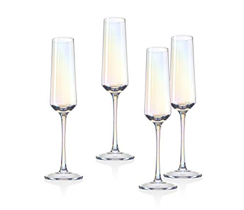 Monterey Champagne Flute Beverage Glass Cup by Godinger - Set of 4