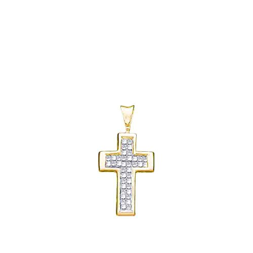 Channel Set Diamond Cross Pendant (14k Yellow Gold Princess Cut Invisible Channel Set Diamond Cross Pendant (1/4 cttw))