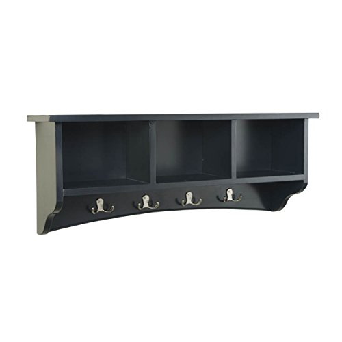 Alaterre Shaker Cottage Wall Mounted Coat Hooks with 3 Cubbies, Charcoal ()