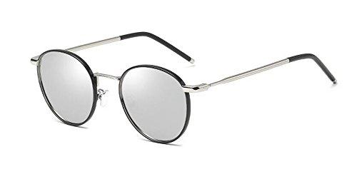 retro en style vintage soleil de de Comprimés lunettes polarisées du inspirées rond Lennon cercle métallique Mercure RzYqYH