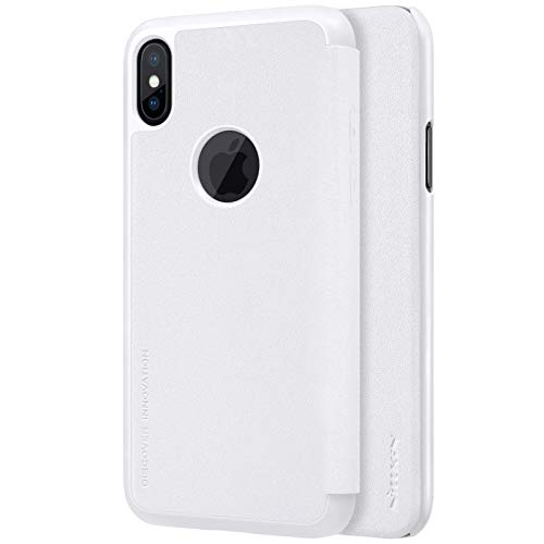 Nillkin Case for Apple iPhone X (5.8″ Inch) Sparkle Leather Flip Folio Book Type PC White Color