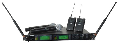 (Shure UR4D+ Dual Channel Wireless System with Two UR1 Bodypacks and Two UR2/BETA87A Handheld Transmitters Band G1)