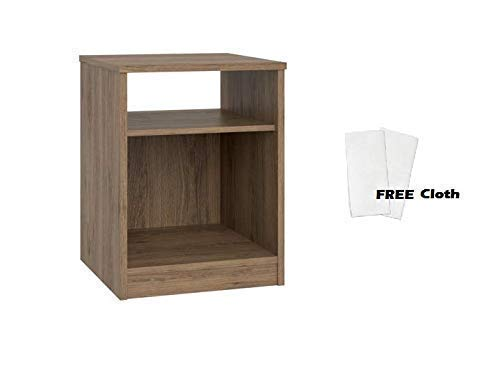 Mainstays Nightstand Features Open Top Shelf and Bottom Cubby, 1 Set, Rustic Oak + Free Cleaning Cloth