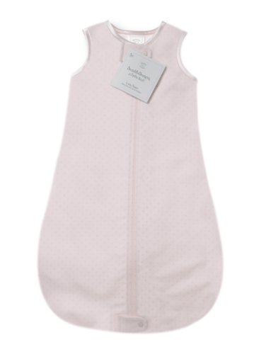 SwaddleDesigns Cotton Sleeping Sack with 2-Way Zipper, Made in The USA, Premium Cotton Flannel, Pastel Pink Polka Dot, 0-6MO