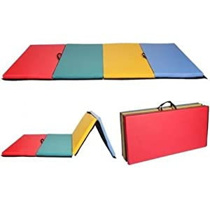 """8'x4'x2"""" Mixed Colors Mat Gymnastics Folding Gym Exercise Yoga Pilates Fitness MMA Martial Arts Wrestling Interlocking Pad R4 Tumbling Thick High Density Non Slip Foam with Carrying Strap"""
