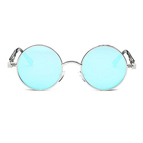 hombres C18 para espejo mujeres de Steampunk Juleya redondo gafas UV400 vintage gótico gafas de retro metal sol qn18azpw