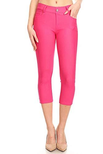 (BENNY & LOUIE Women's Cotton Blend Stretchy Skinny Jeggings Pants 817 Fuchsia XXL)