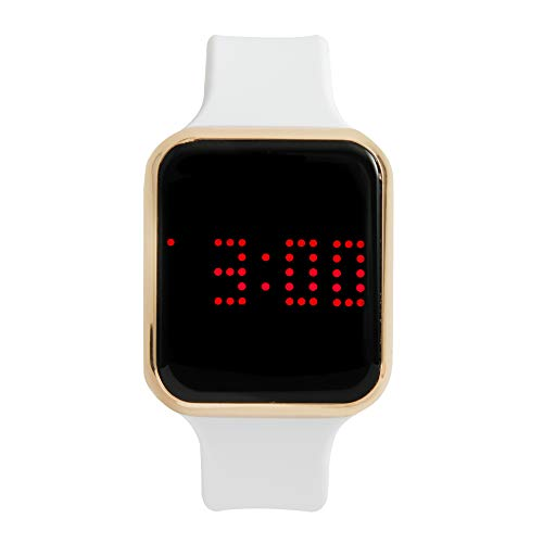 - Unisex Digital Watch LED Screen Large Face Silicone Band with Scrolling Message and Alarm Settings - (White/Gold Dial) - 8231