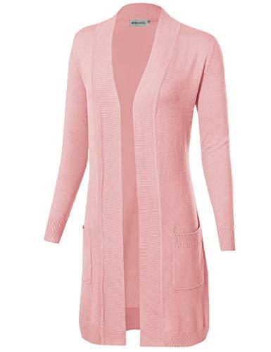 MAYSIX APPAREL Long Sleeve Long Line Knit Sweater Open Front Cardigan W  Pocket for Women 75762526e
