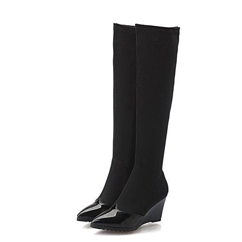 AgooLar Damen Hoher Absatz Überknie Hohe Stiefel Stiefel Rein Reißverschluss Stiefel, Rot, 36