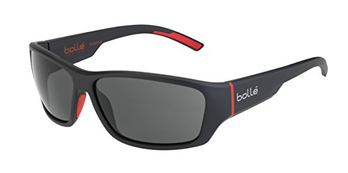 (Bolle Ibex Matte Black Red 12372 Sunglasses Polarized TNS Oleo Lens Large)