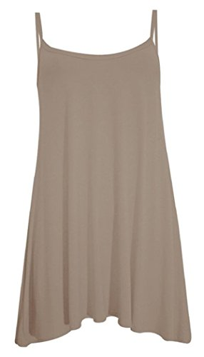 Brown Strappy Dress - Girls Walk Women's Plain Plus Size Casual Flared Cami Strappy Swing Dress