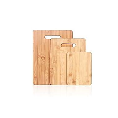 ZUBANA Premium All Natural Bamboo Wood Cutting Board 3 Piece Set