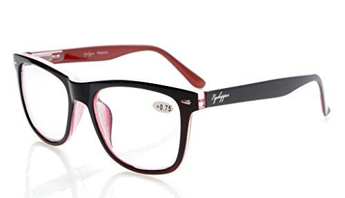 Eyekepper Readers Square Large Lenses Spring-Hinges Reading Glasses Men Women Black-Red - Frames Large Optical