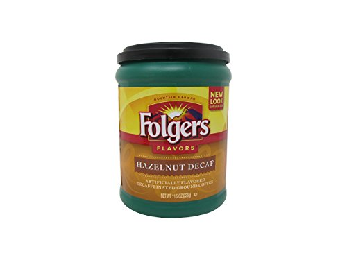 Folgers Flavors Hazelnut Decaffeinated Ground Coffee, 11.5-Ounce Tubs (Pack of 6)