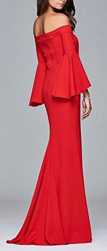 Blansdi Women Evening Bodycon Off Shoulder High Split Flare Sleeve Mermaid Maxi Dress Gown